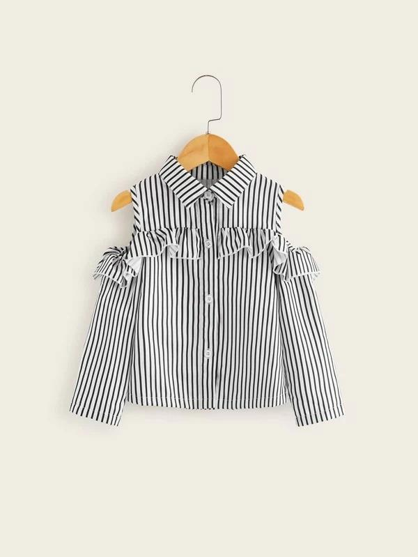 Toddler Girls Open Shoulder Ruffle Trim Striped Blouse