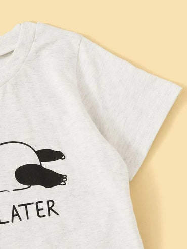 Toddler Girls Panda & Letter Graphic Tee