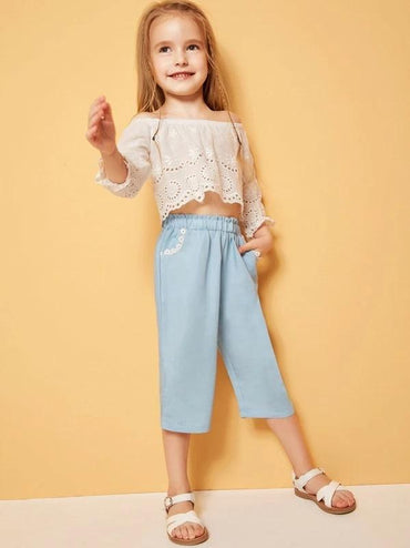 Toddler Girls Paperbag Waist Lace Trim Pants