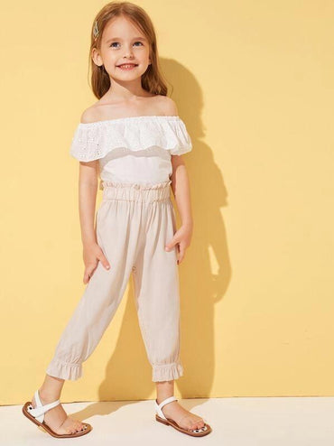 Toddler Girls Paperbag Waist Ruffle Hem Pants