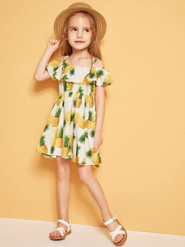 Toddler Girls Pineapple Print Cold Shoulder Flounce Dress