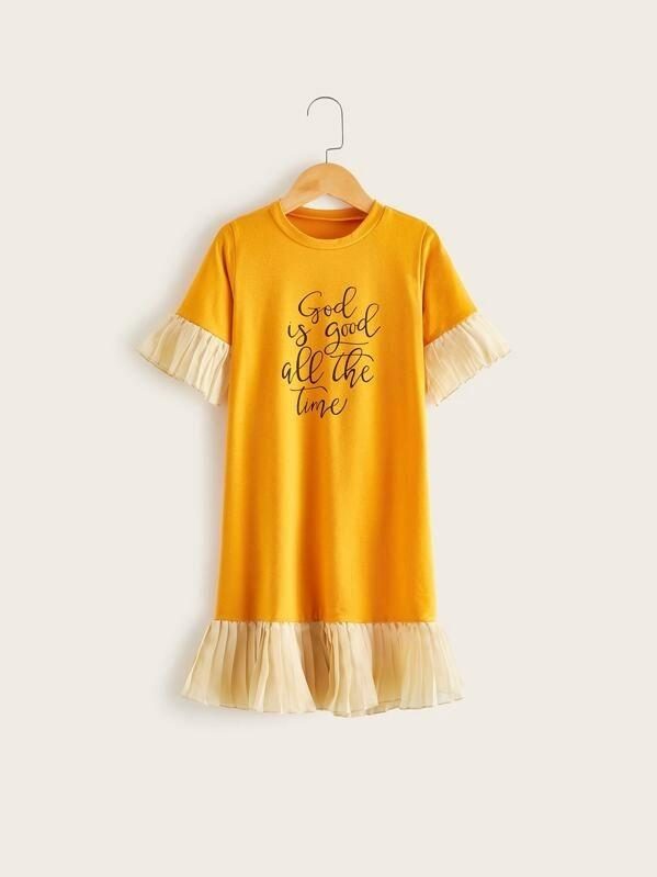 Toddler Girls Pleated Hem Slogan Graphic Tee Dress
