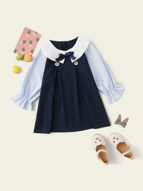 Toddler Girls Pleated Neck Contrast Sleeve A-Line Dress