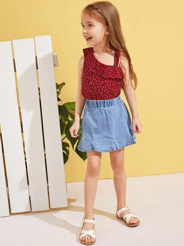 Toddler Girls Polka-Dot Asymmetrical Neck Top