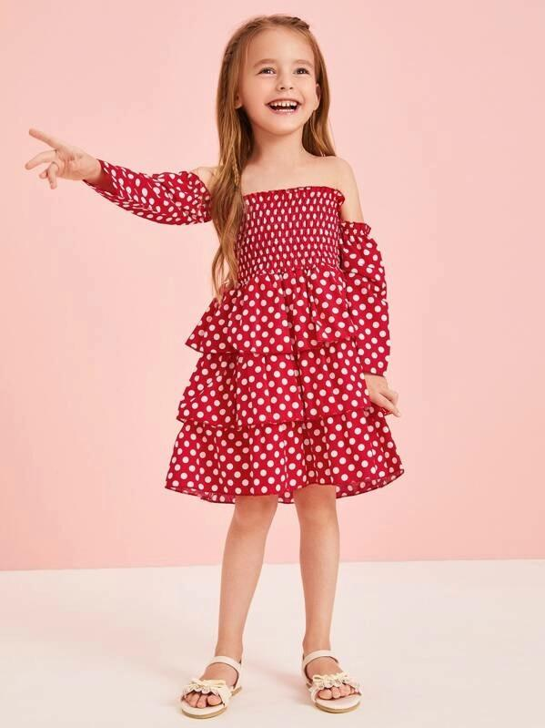 Toddler Girls Polka Dot Bardot Shirred Layered Dress
