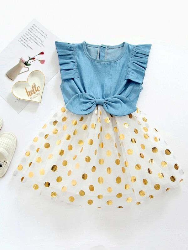 Toddler Girls Polka Dot Bow Front Tutu Dress