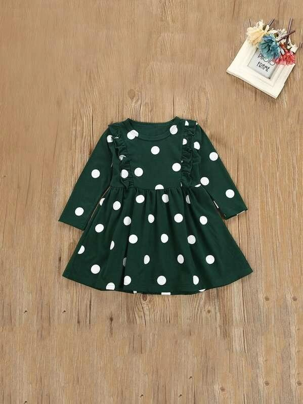 Toddler Girls Polka Dot Print Ruffle Detail Dress