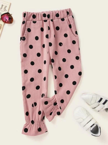 Toddler Girls Polka Dot Ruffle Hem Pants
