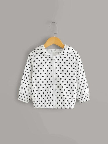 Toddler Girls Polka Dot Zip Through Hooded Jacket