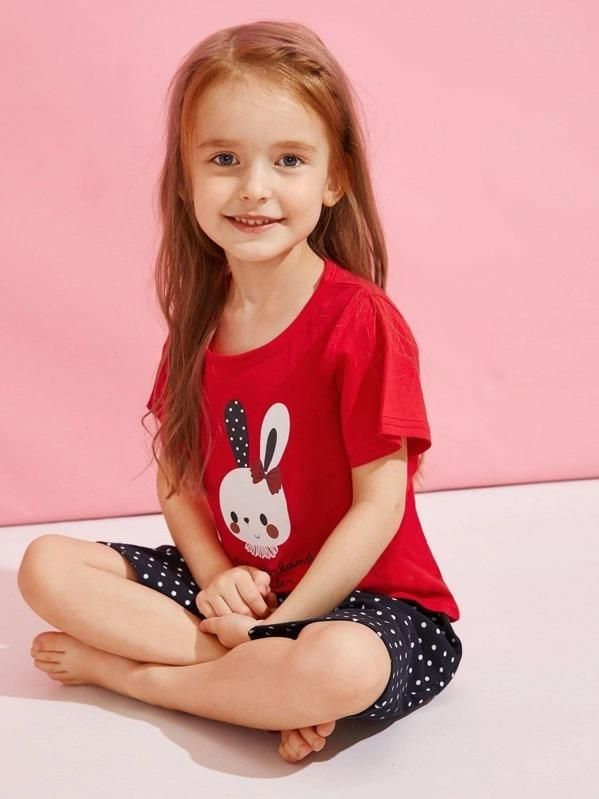 Toddler Girls Rabbit Print Polka Dot PJ Set