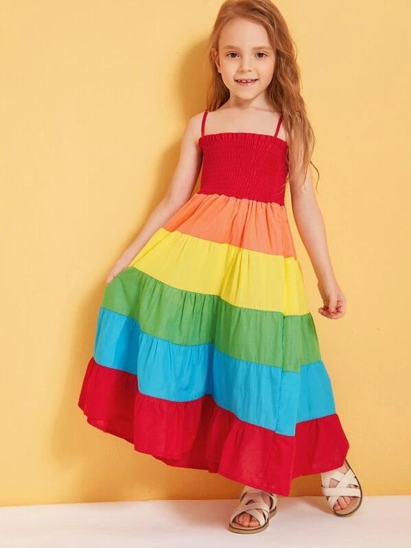 Toddler Girls Rainbow Shirred Cami Dress
