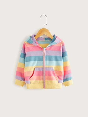 Toddler Girls Rainbow Striped Zip Up Hooded Jacket