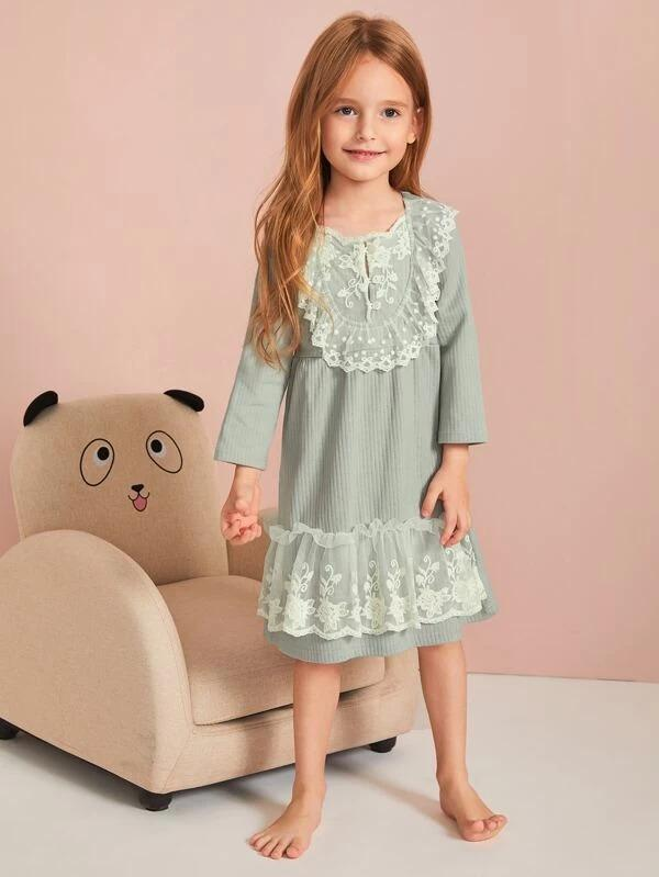 Toddler Girls Rib Contrast Lace Night Dress