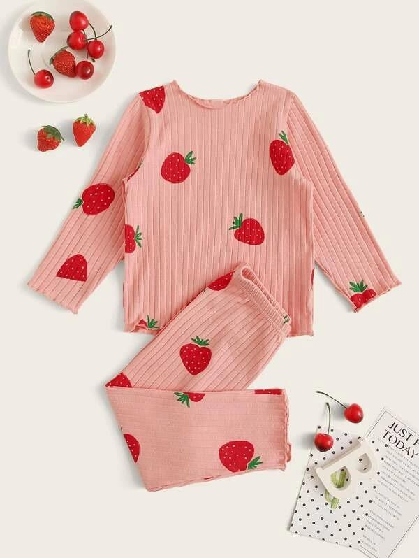 Toddler Girls Rib Strawberry Print PJ Set