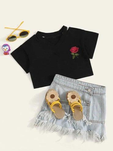 Toddler Girls Rose Patched Cut-Out Tee