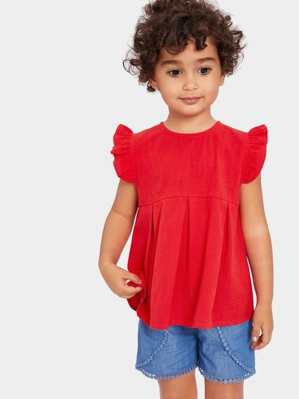 Toddler Girls Ruffle Armhole Pleated Front Top