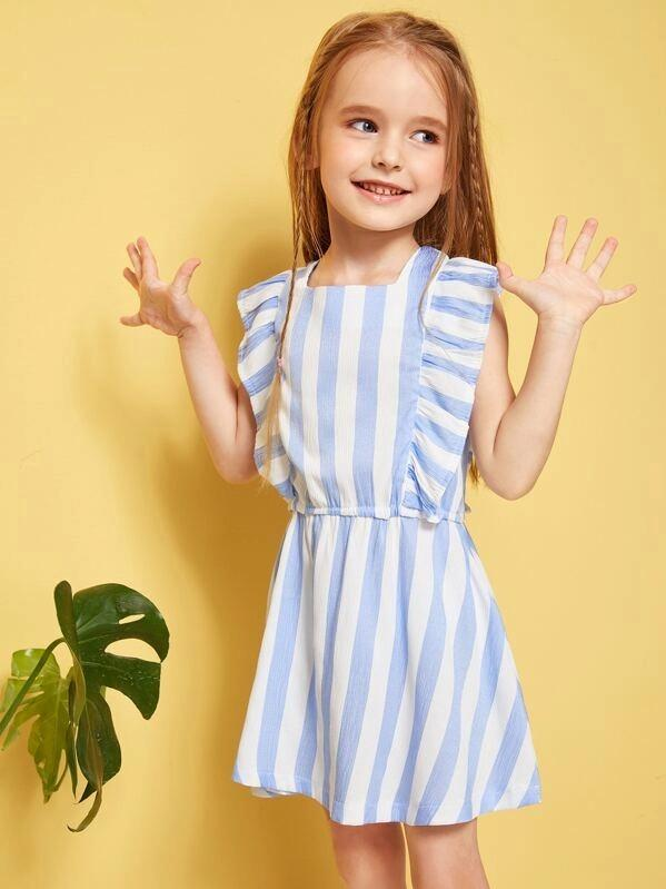 Toddler Girls Ruffle Armhole Striped Dress