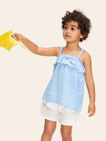 Toddler Girls Ruffle Embellished Knot Shirred Strap Top