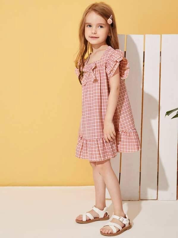 Toddler Girls Ruffle Hem Bow Front Gingham Dress