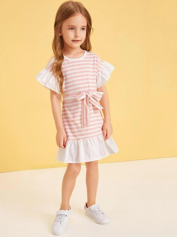 Toddler Girls Ruffle Hem Stripe Belted Dress