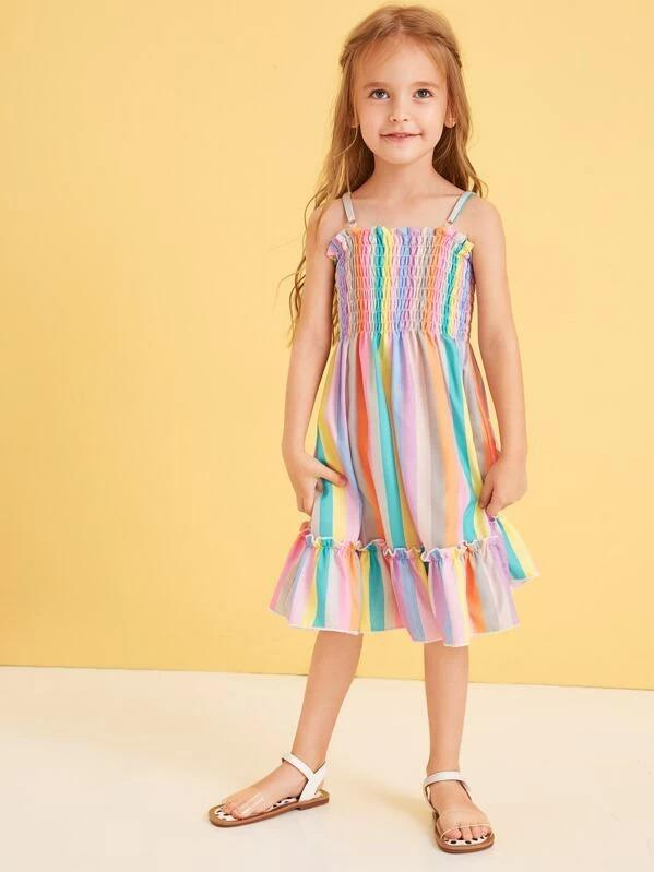 Toddler Girls Ruffle Hem Stripe Cami Dress