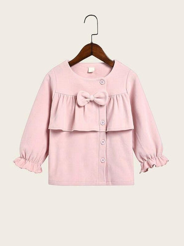Toddler Girls Ruffle Trim Bow Front Coat