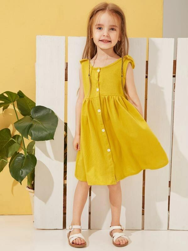 Toddler Girls Ruffle Trim Button Front Tea Dress