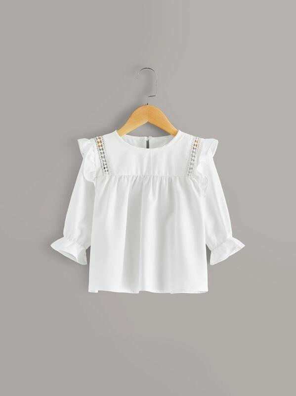 Toddler Girls Ruffle Trim Hollow Out Blouse