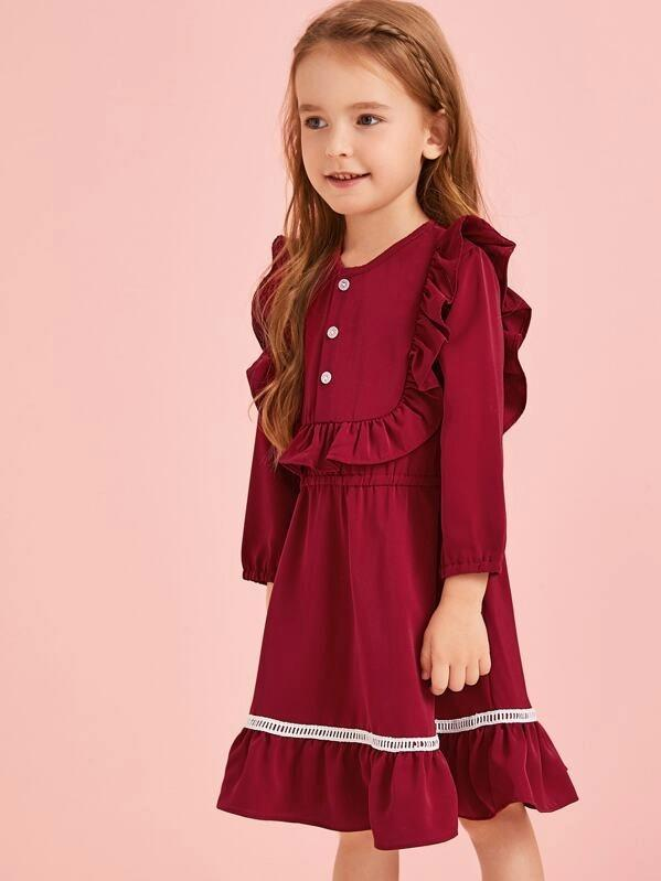 Toddler Girls Ruffle Trim Swing A-Line Dress