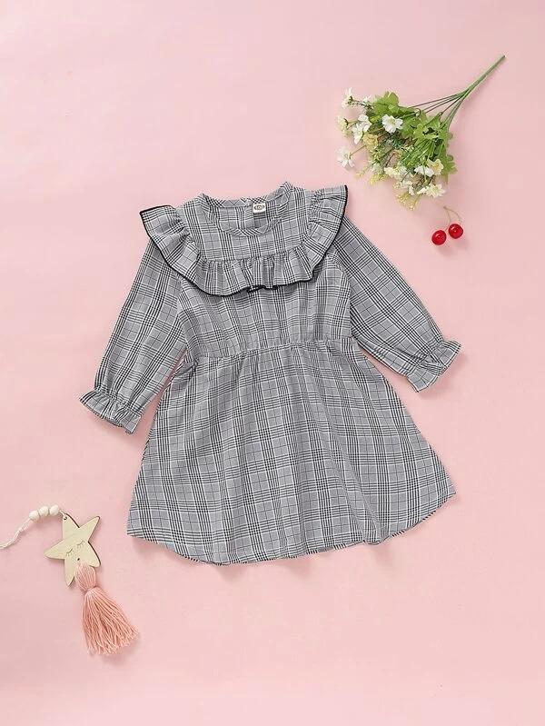 Toddler Girls Ruffle Trim Wales Check A-Line Dress