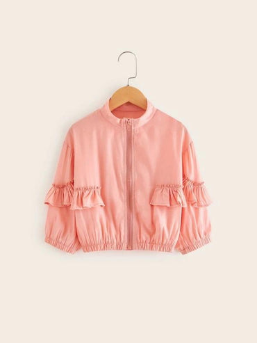 Toddler Girls Ruffle Trim Zip Up Jacket