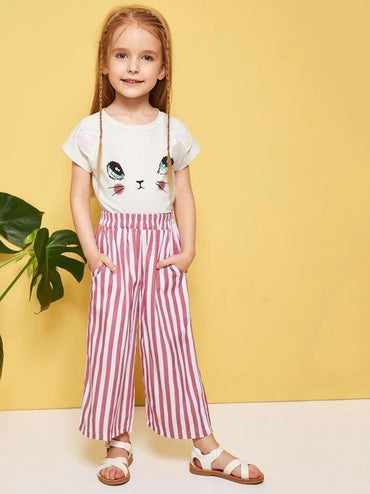 Toddler Girls Slant Pocket Striped Wide Leg Pants