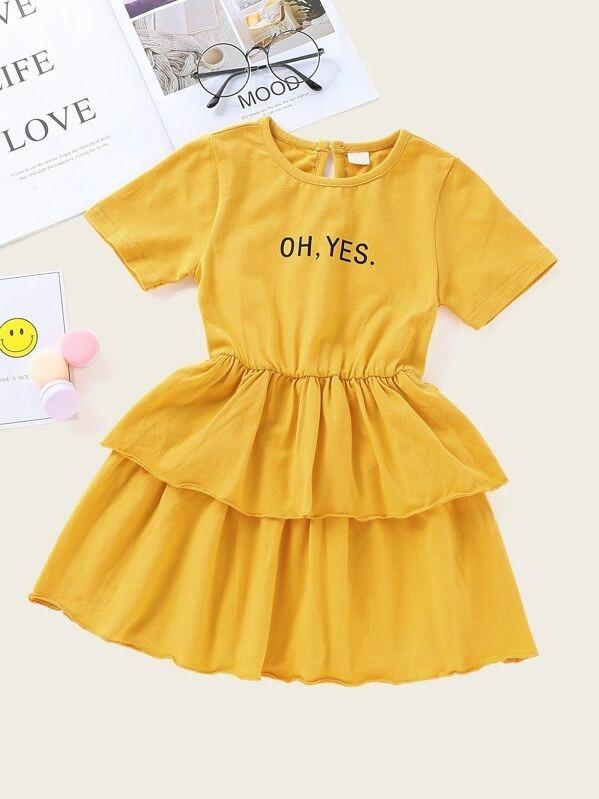Toddler Girls Slogan Print Ruffle Hem A-Line Dress