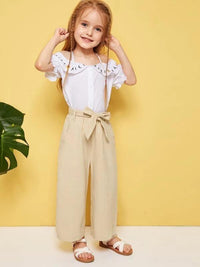 Toddler Girls Solid Belted Wide Leg Pants