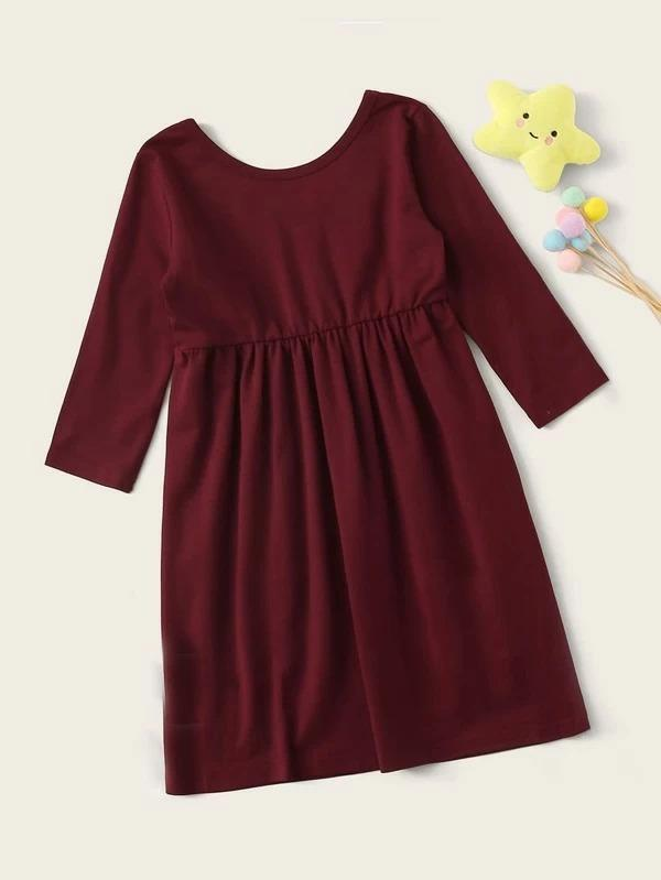 Toddler Girls Solid Long Sleeve Night Dress