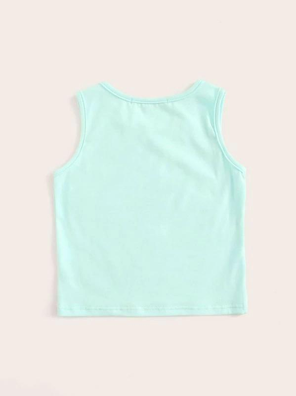 Toddler Girls Solid Round Neck Tank Top