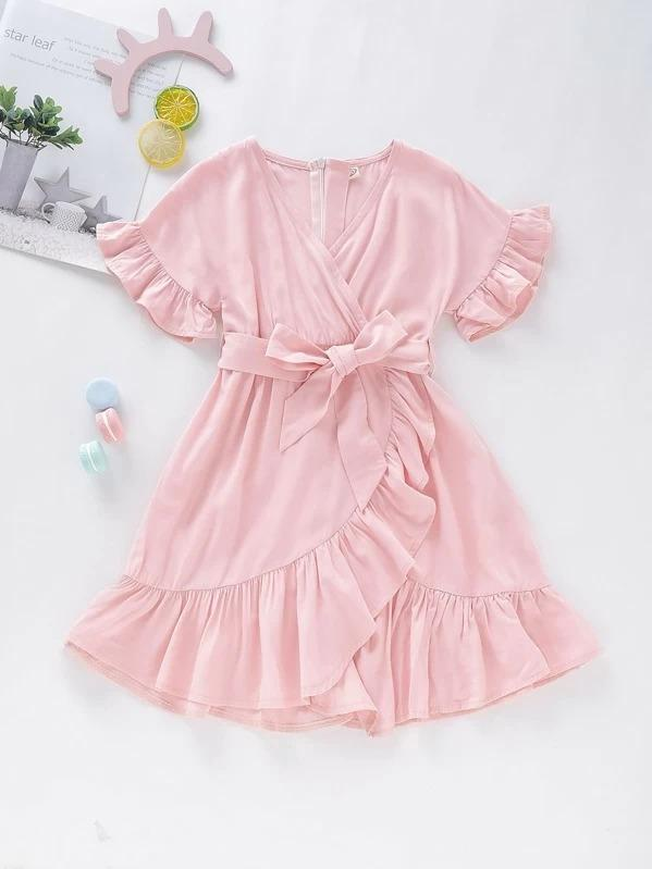 Toddler Girls Solid Ruffle Hem Belted Wrap Dress