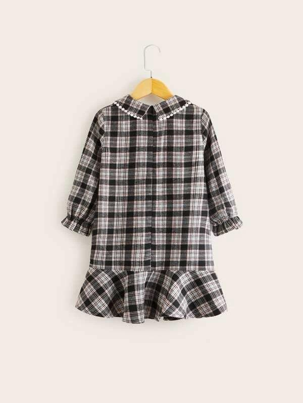 Toddler Girls Spearpoint Collar Ruffle Hem Plaid Dress