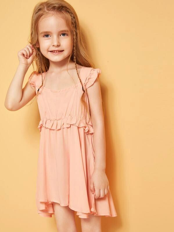 Toddler Girls Square Neck Ruffle Trim Dress