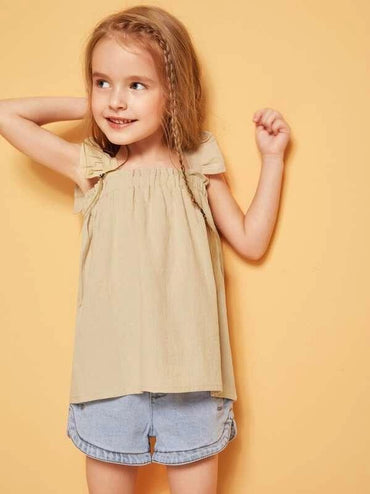 Toddler Girls Square Neck Ruffle Trim Top
