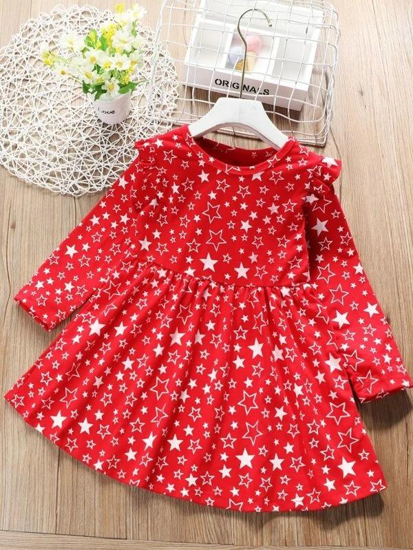 Toddler Girls Star Print Ruffle Trim Flare Dress
