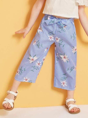 Toddler Girls Stripe & Floral Print Belted Pants