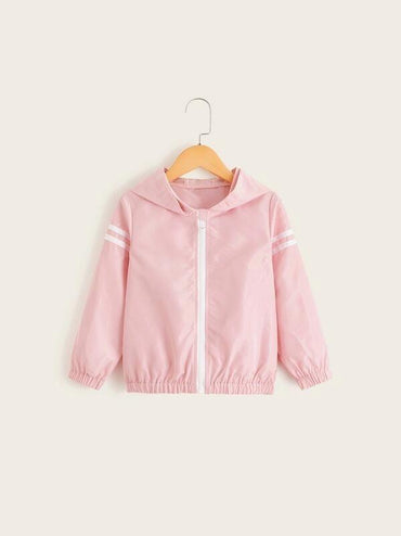 Toddler Girls Stripe Side Hooded Windbreaker Jacket