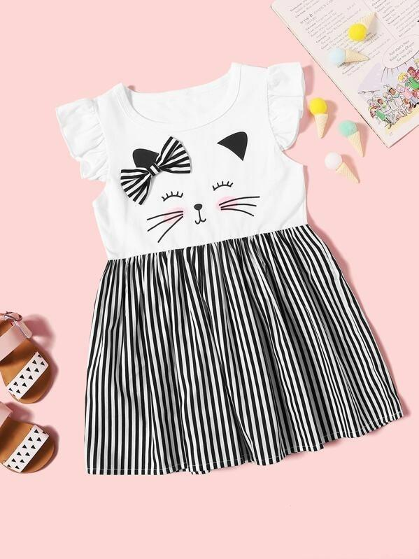 Toddler Girls Striped Bow Detail Ruffle Sleeve Dress