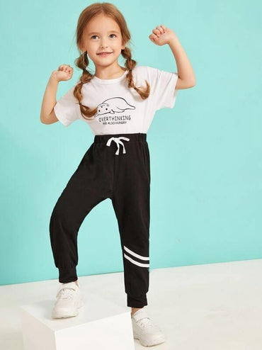 Toddler Girls Striped Drawstring Pants