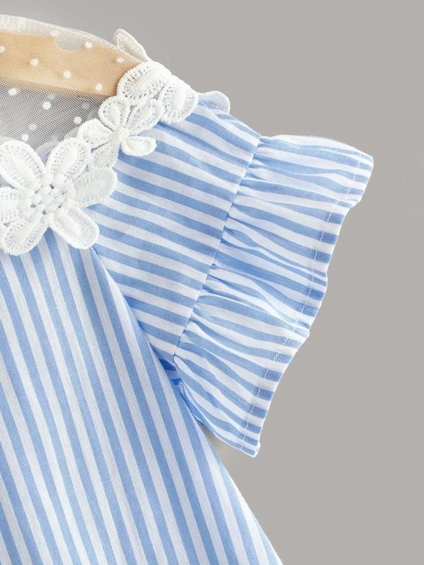 Toddler Girls Striped Lace Insert Dress