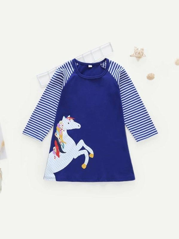 Toddler Girls Striped Raglan Sleeve Horse Print Dress