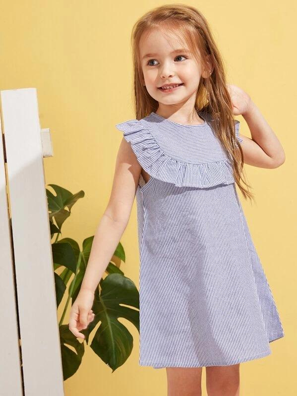 Toddler Girls Striped Ruffle Trim Trapeze Dress