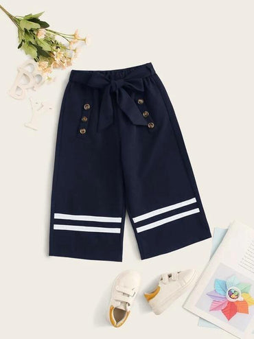 Toddler Girls Striped Tape Belted Wide Leg Pants