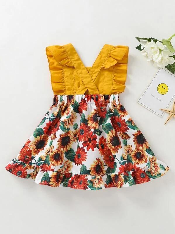 Toddler Girls Sunflower Print Ruffle Pinafore Dress